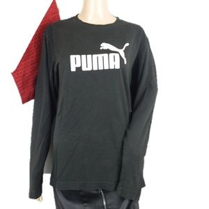 Puma Black Graphic Spellout Long Sleeve Tee Top